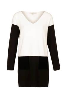 jurk met V-hals zwart-wit