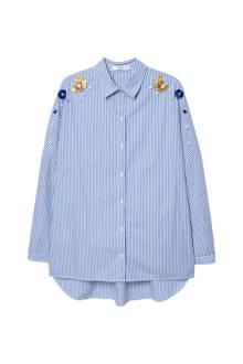 oversized blouse blauw