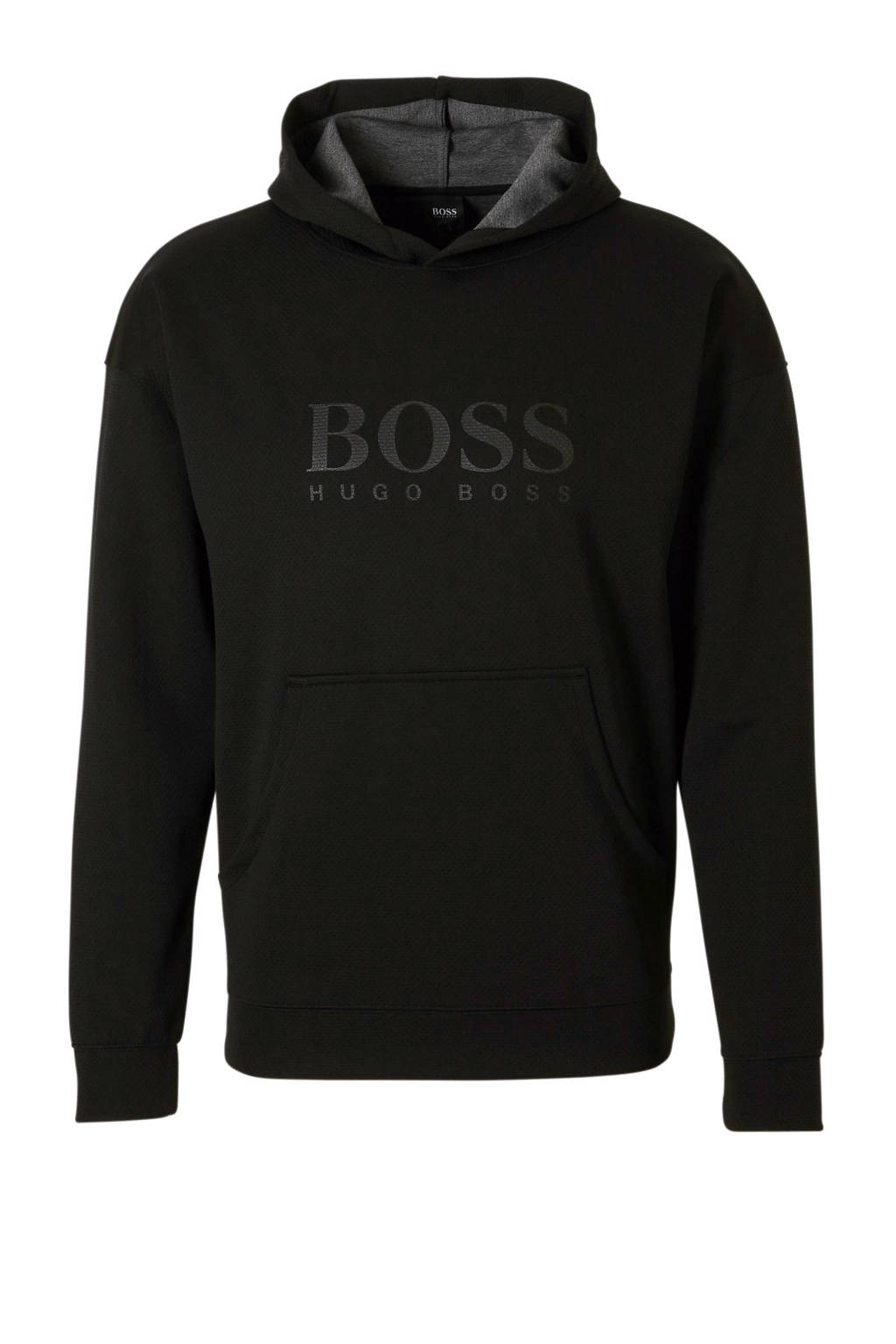 Boss hoodie met textuur zwart, Zwart