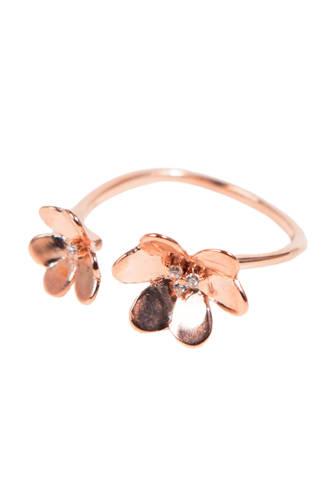 zilveren ring met zirkonia rosé
