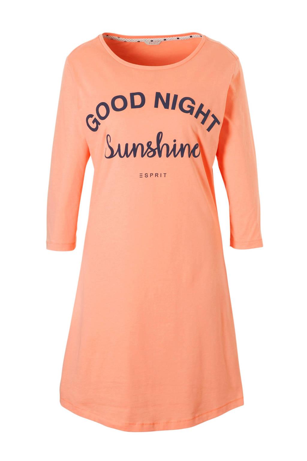 ESPRIT Women Bodywear nachthemd met tekstopdruk zalm, Zalm/antraciet