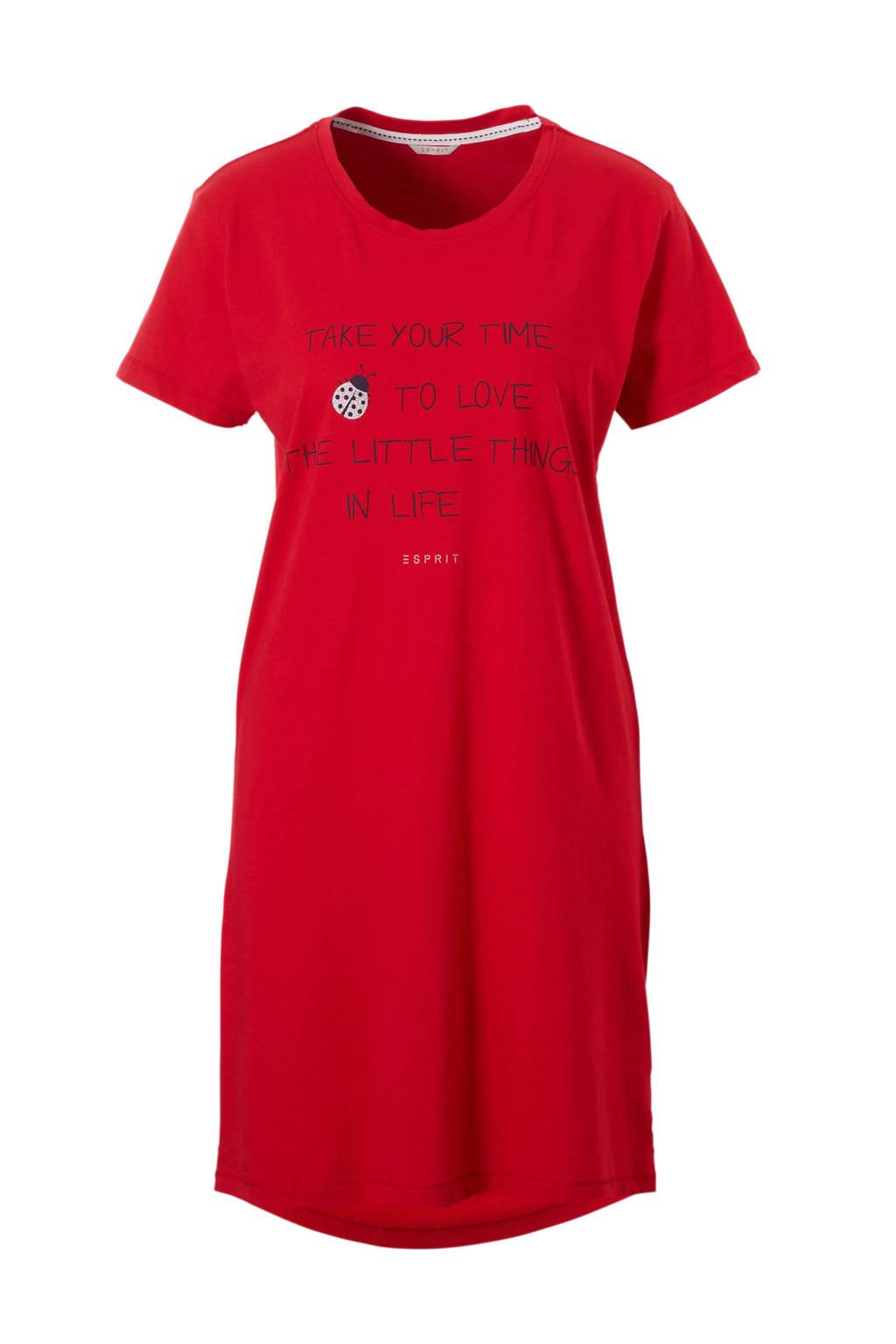 ESPRIT Women Bodywear nachthemd met tekstopdruk rood, Rood/marine