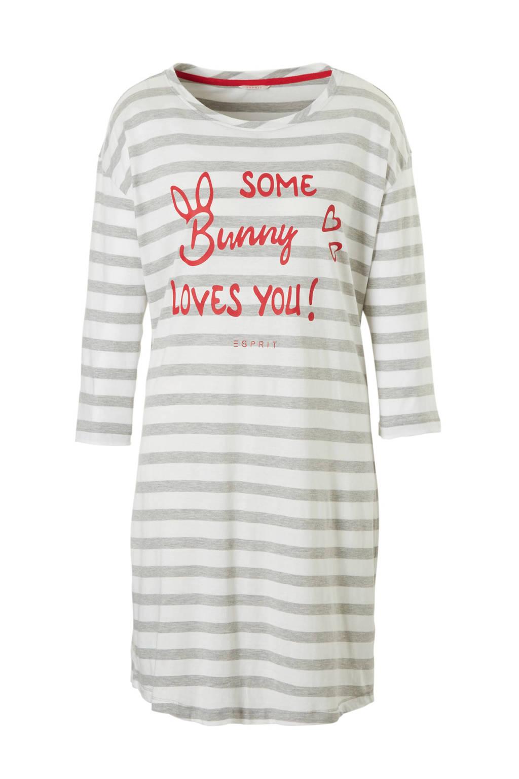 ESPRIT Women Bodywear nachthemd met strepen wit, Wit/grijs