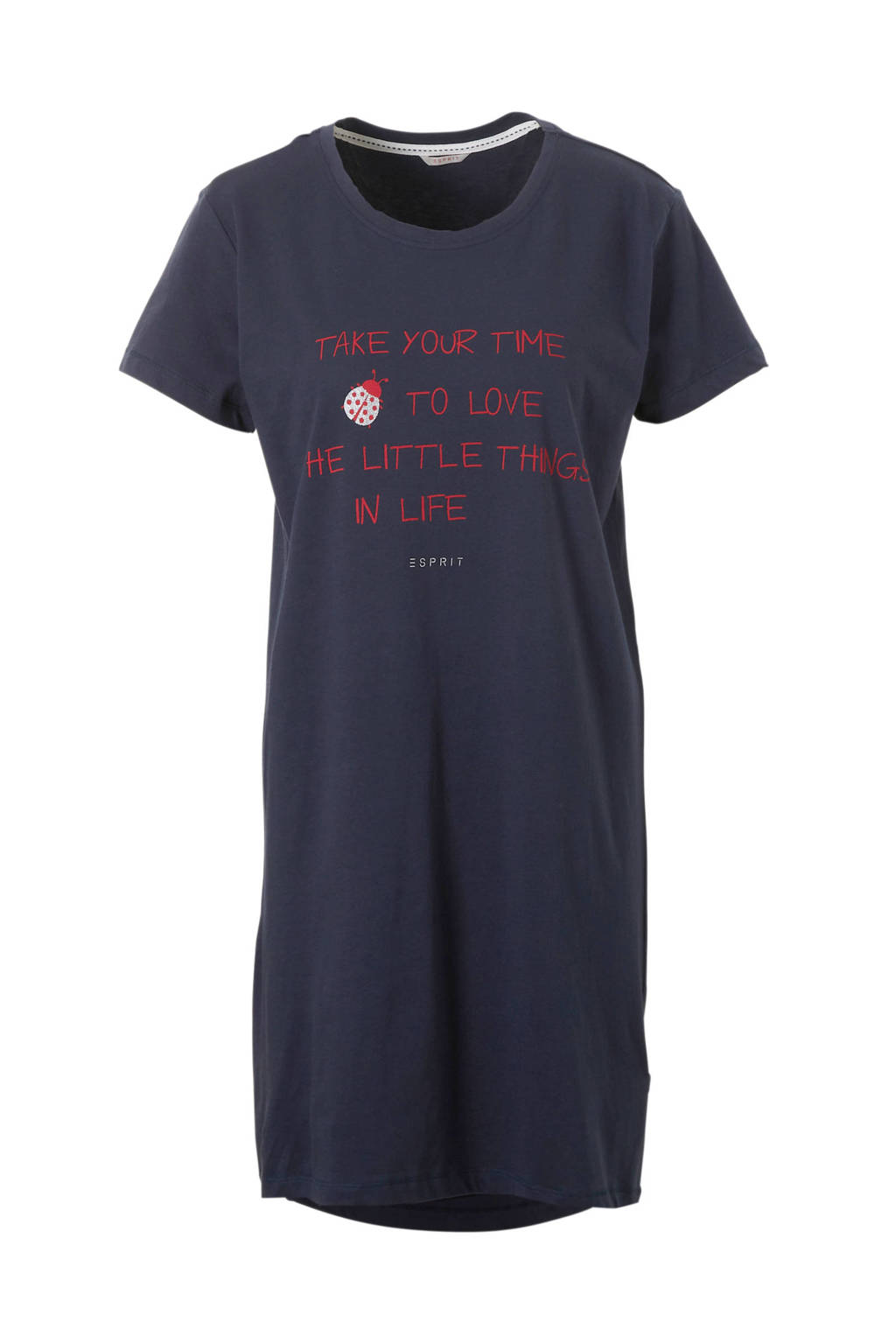 ESPRIT Women Bodywear nachthemd met tekstopdruk marine, Marine/rood