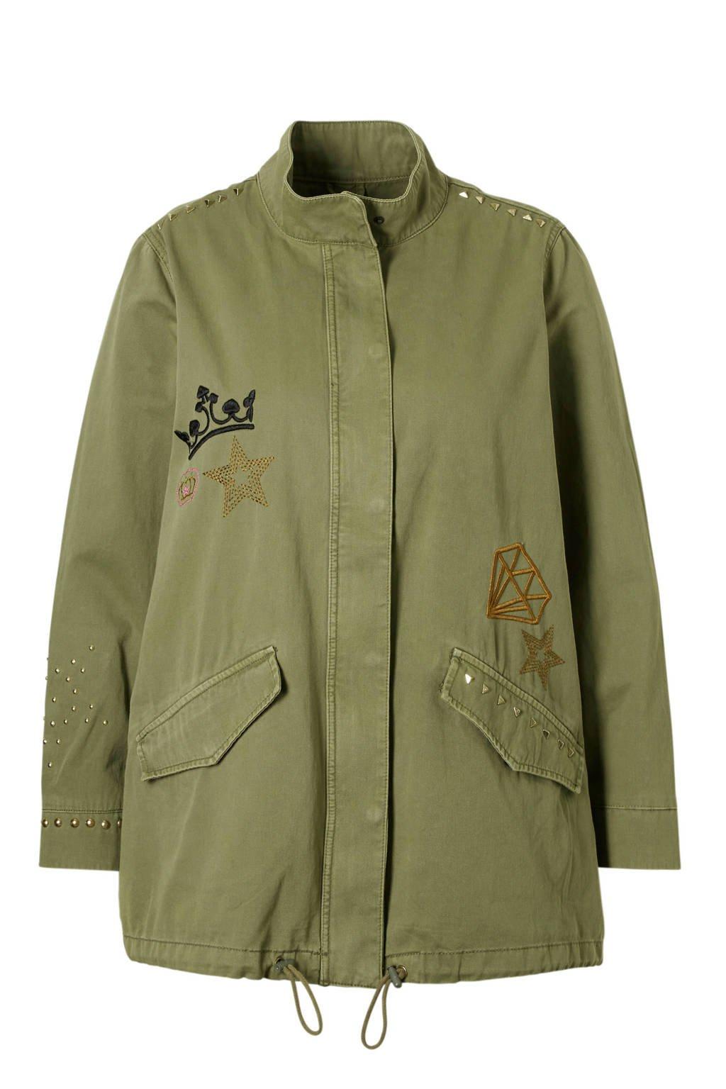 C&A XL Clockhouse jas met borduursels, Kaki