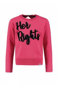 Baker Bridge sweater Katheriene met tekst roze, Roze/zwart
