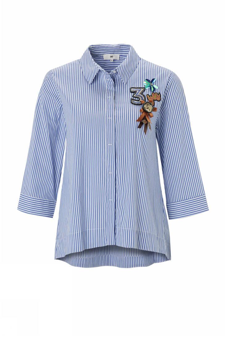 blouse Mariska met CKS blauw broche pxOxBw