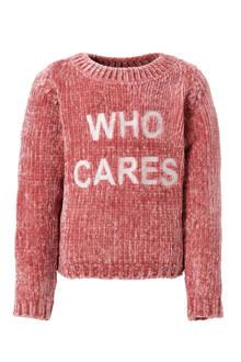 fluwelen trui met tekst roze