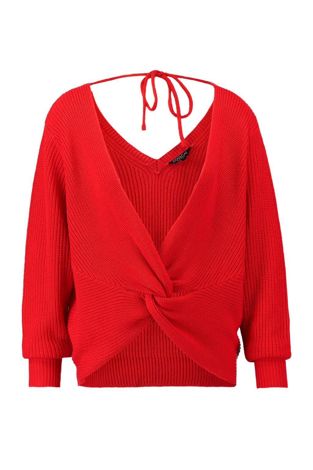 CoolCat gebreide trui met knoopdetail rood, Rood