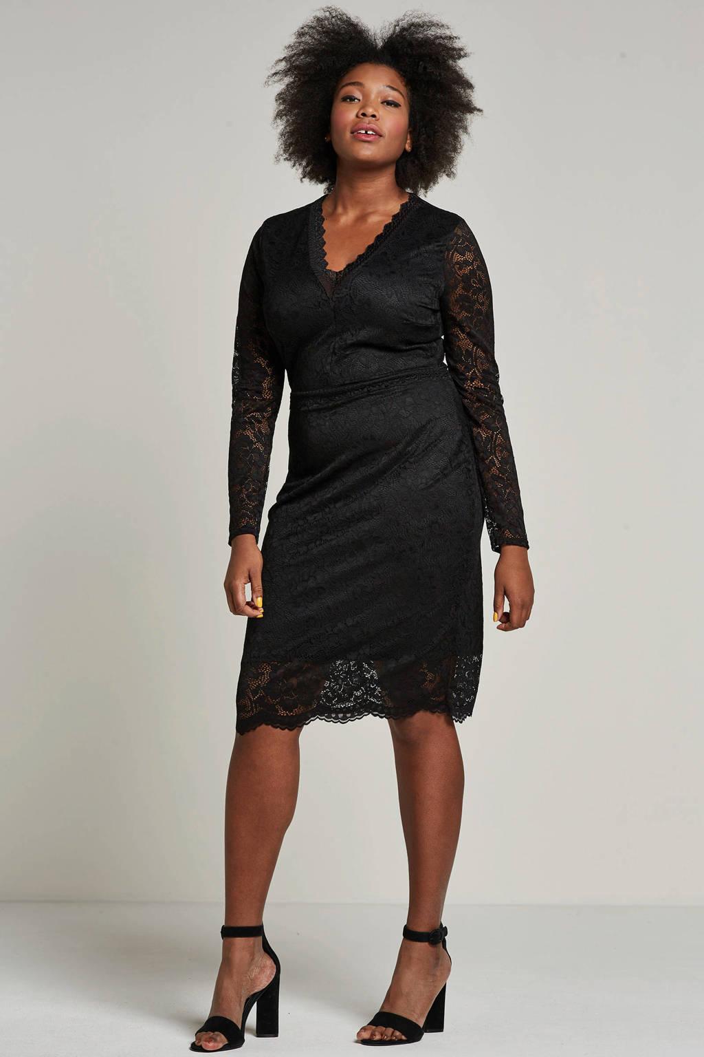 Lost Ink Plus jurk met kant, Zwart