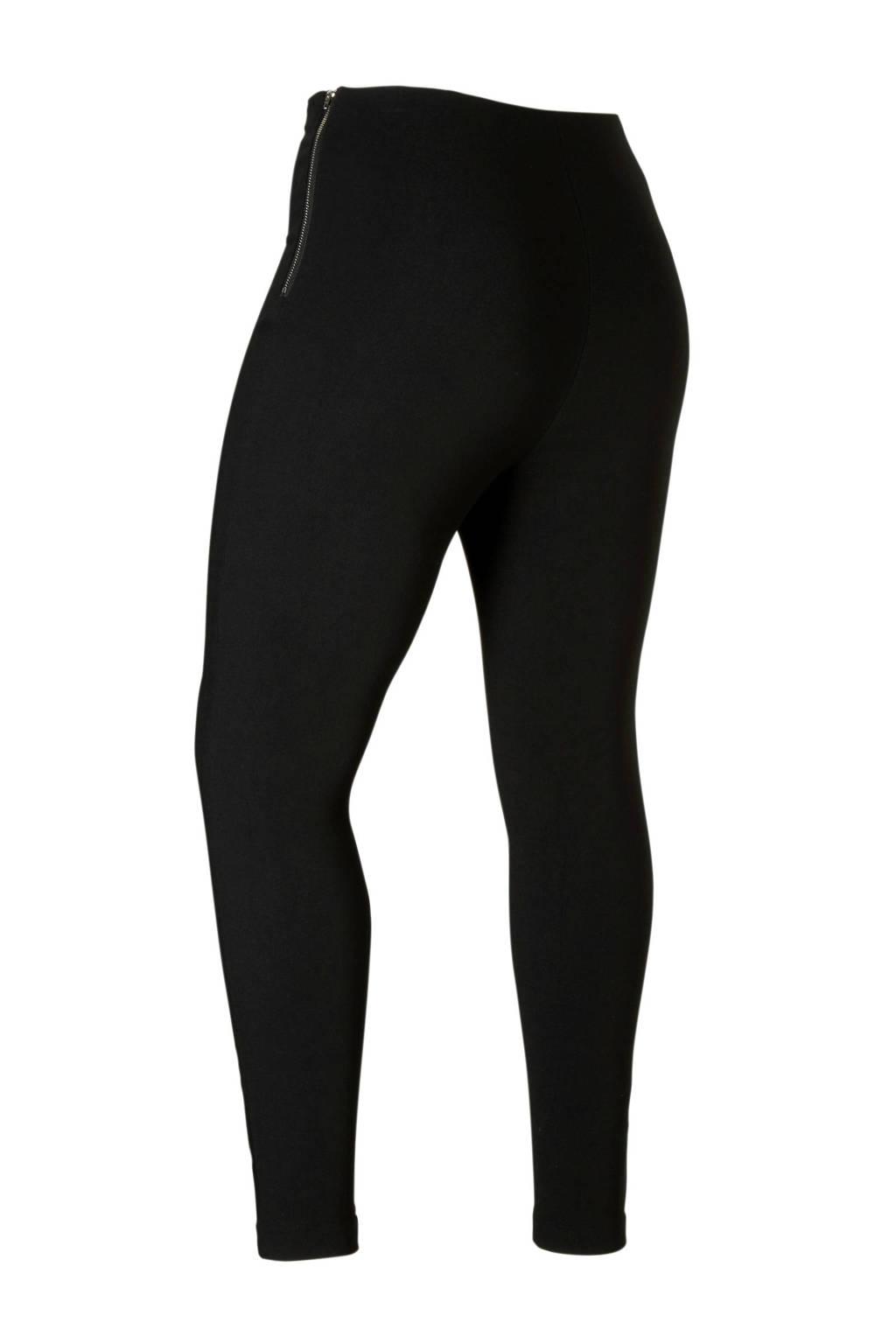 Lost Ink Plus high waist broek, Zwart