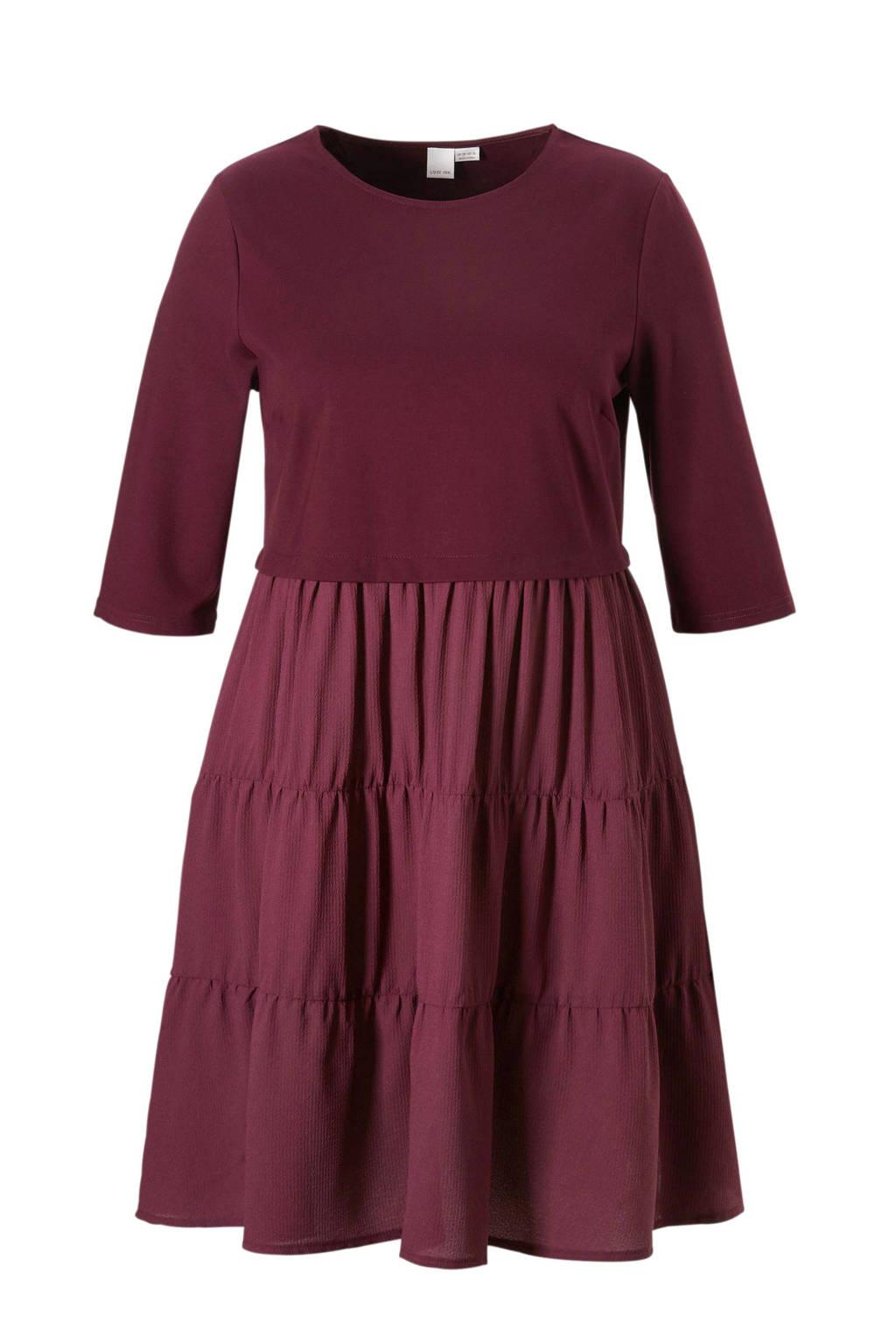 Lost Ink Plus jurk, Donkerrood