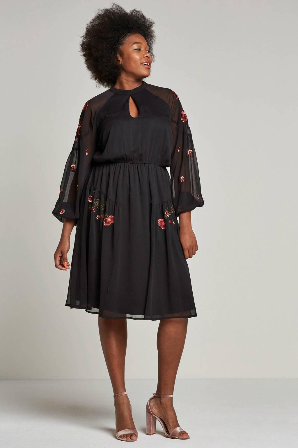 Lost Ink Plus jurk met borduursels, Zwart/rood