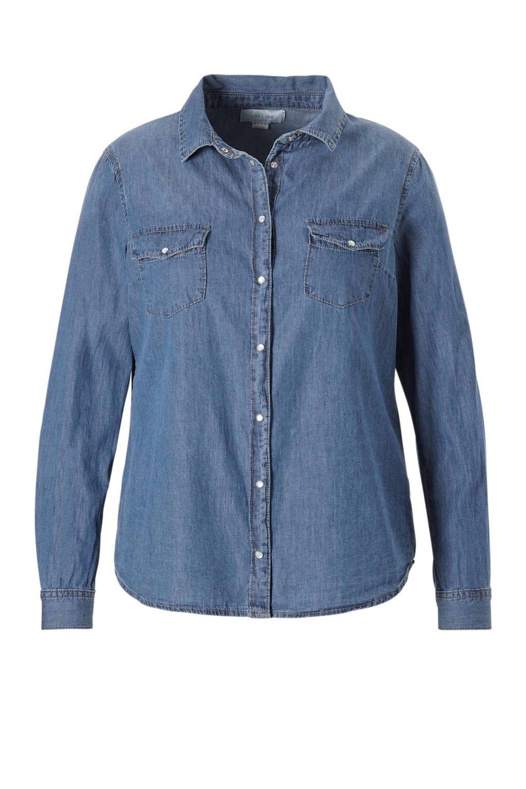 Lost Ink Plus denim blouse, Blauw