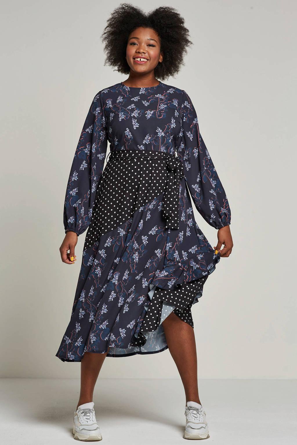 Lost Ink Plus jurk met all-over print, Donkerblauw/oranje/paars