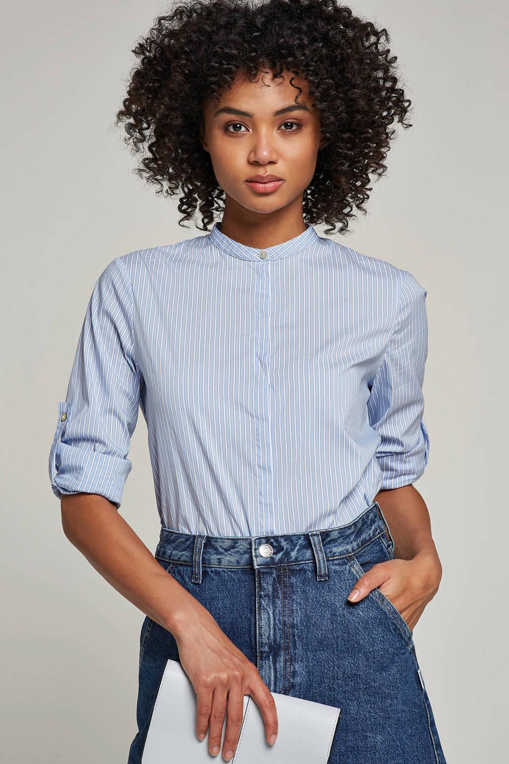 Boss Casual blouse met streepprint, Lichtblauw/wit