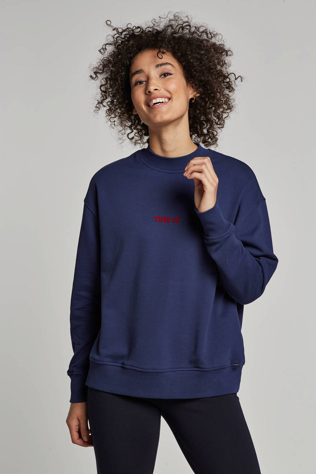 Boss Casual sweater met flockprint, Blauw