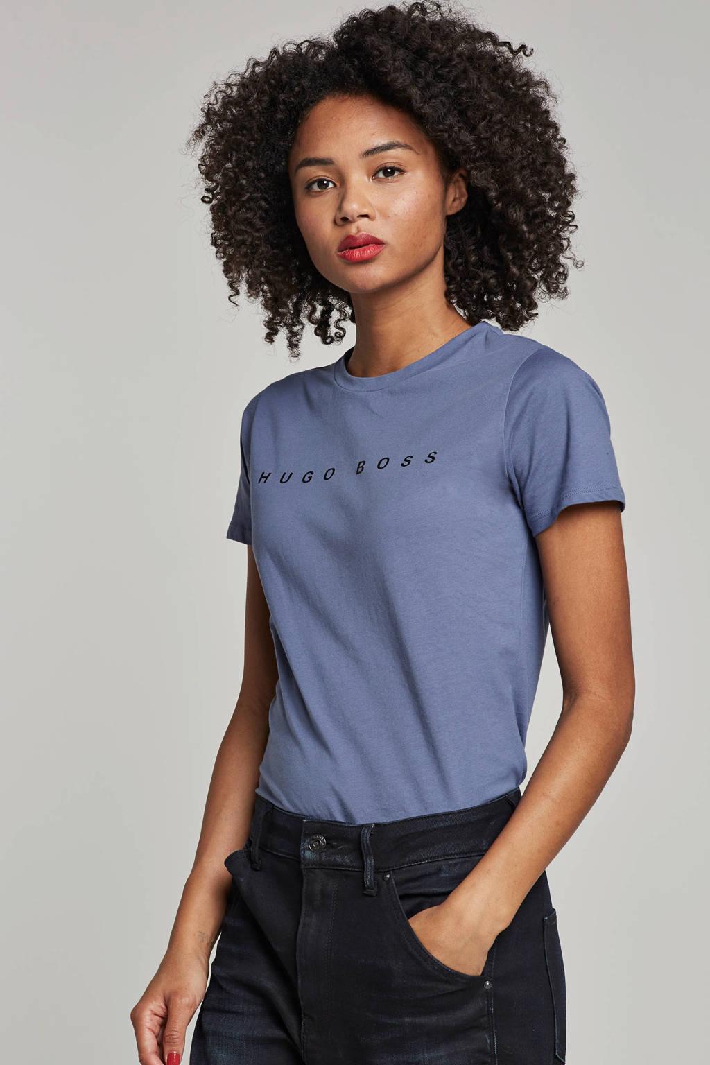 Boss Casual T-shirt met logo opdruk, Lichtblauw