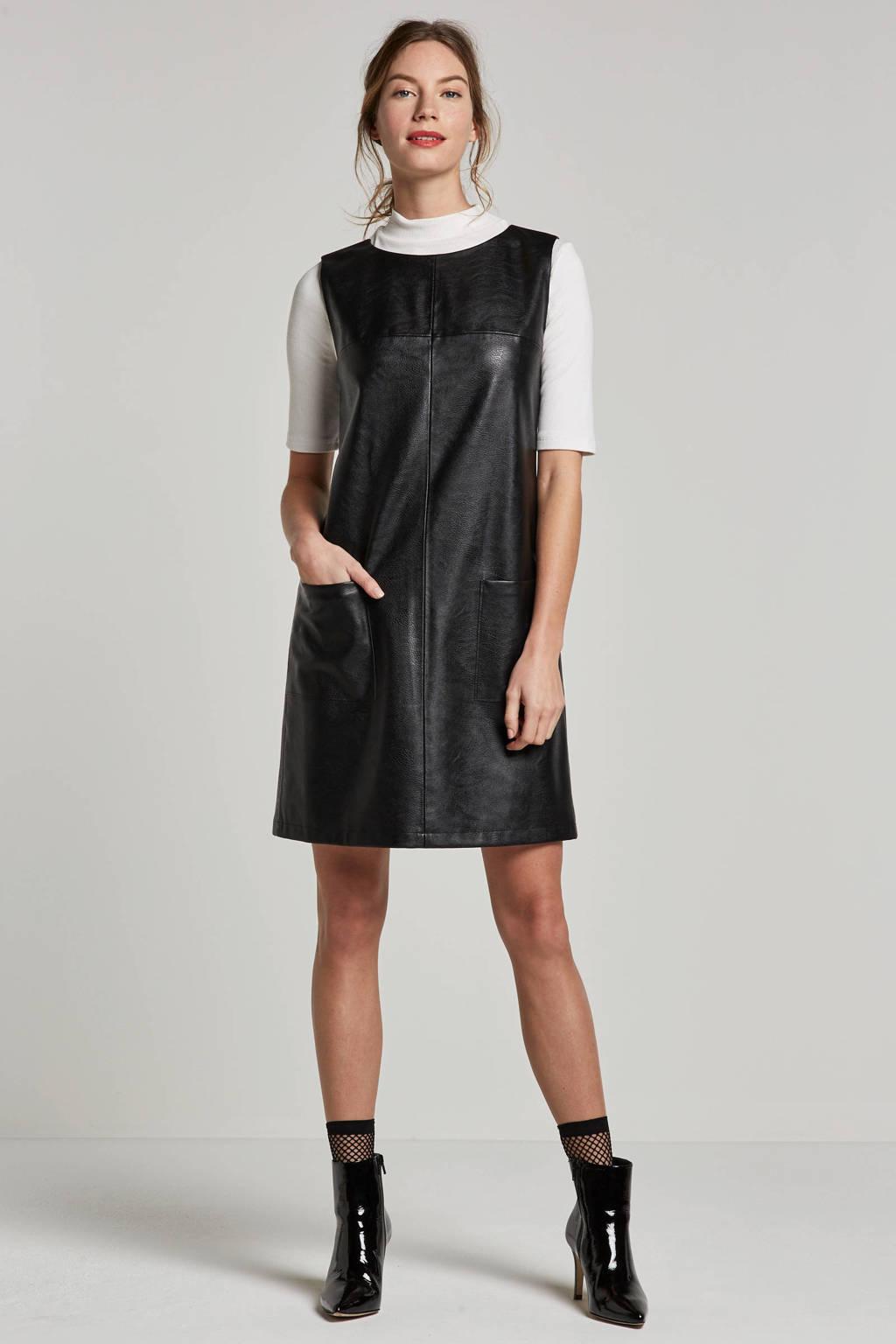 Boss Casual imitatieleren jurk, Zwart