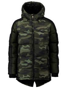 winterjas met camouflage print donkergroen