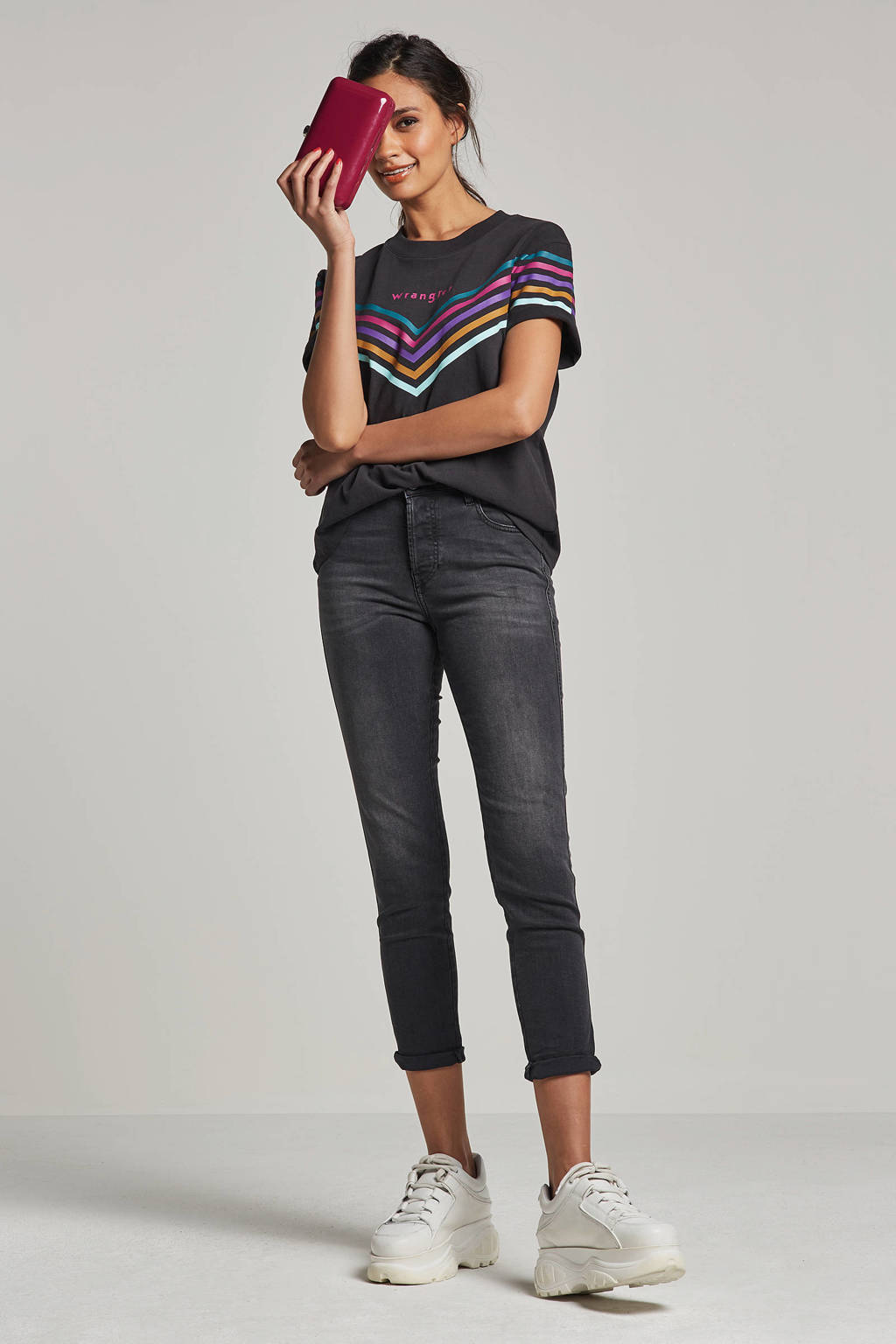 Wrangler Rainbow T-shirt, Antraciet