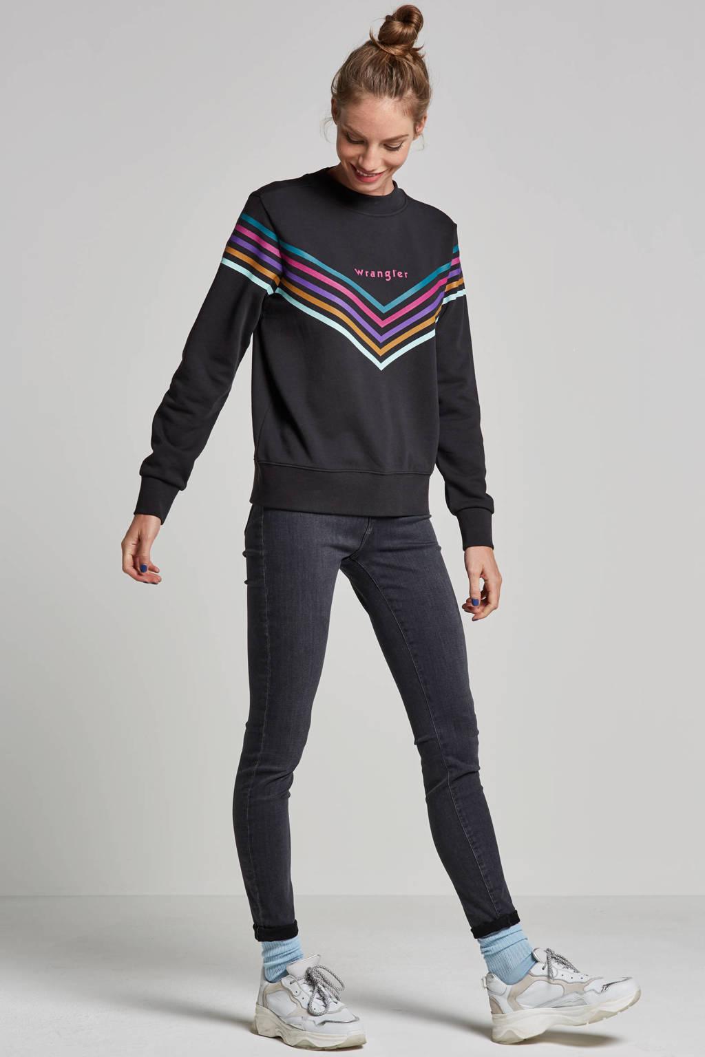 Wrangler high waist skinny fit jeans, Grijs