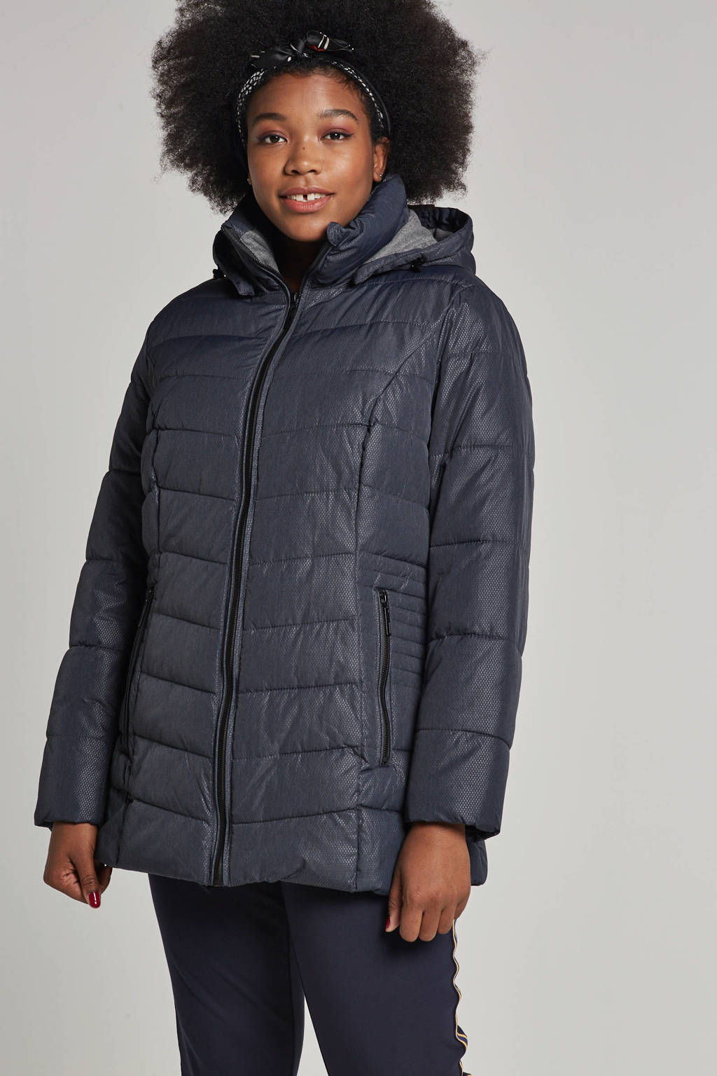Miss Etam Plus jas donkerblauw, Donkerblauw