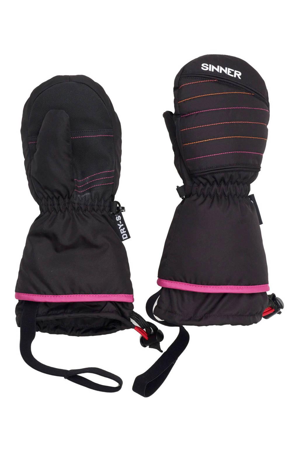Sinner skihandschoenen Stratton Mitten Junior, Zwart/roze