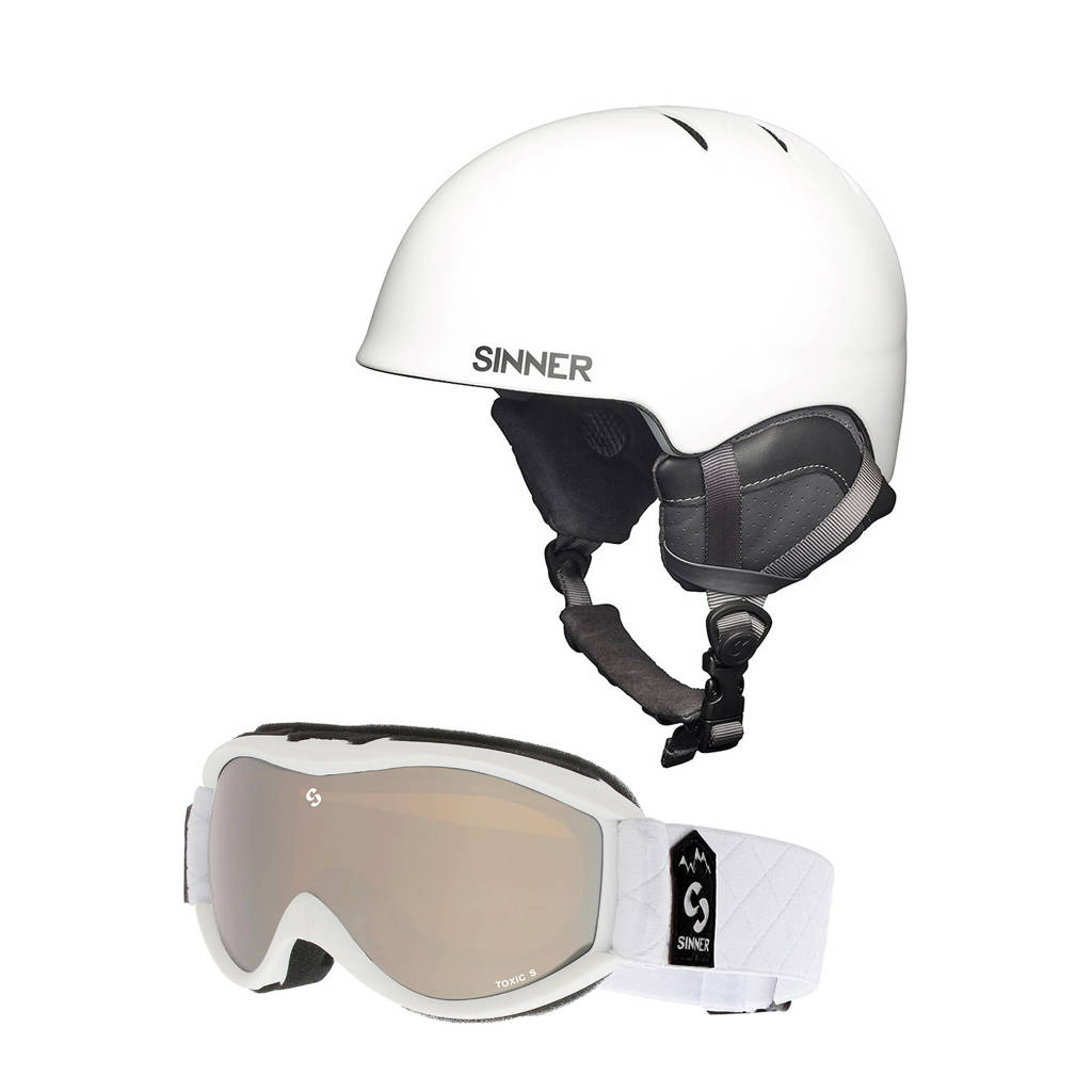 Sinner skihelm+skibril wit, Wit