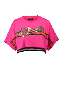 crop top met kettingpatroon roze