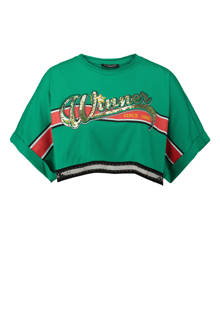 crop top met kettingpatroon groen