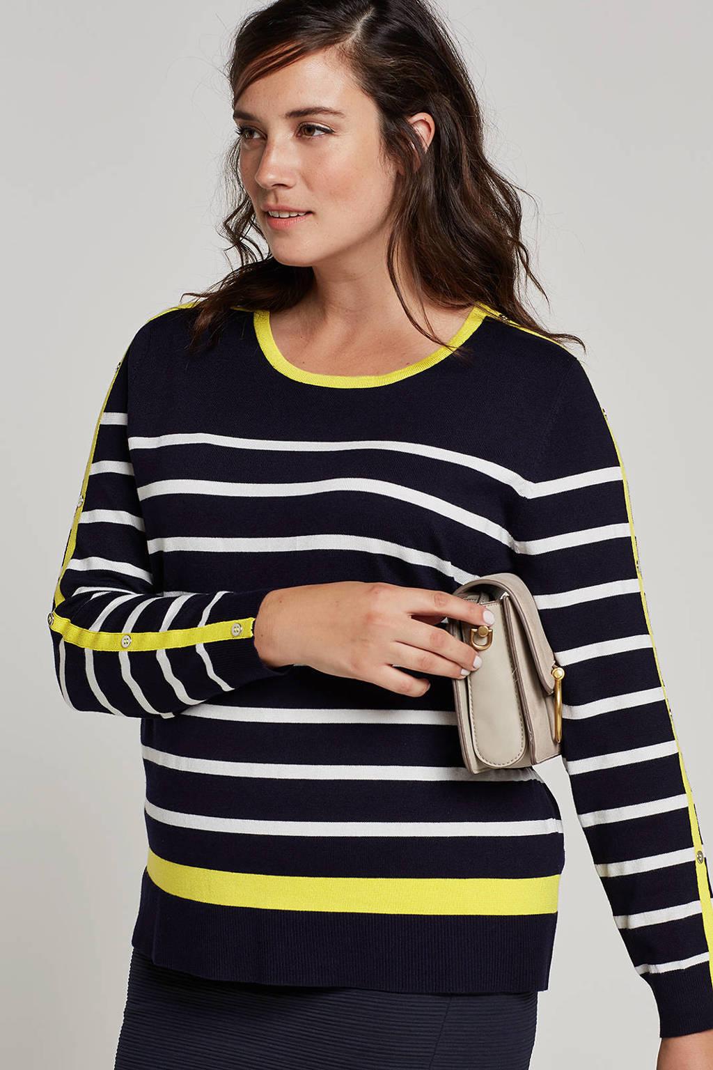 October trui met strepen, Donkerblauw/wit/geel