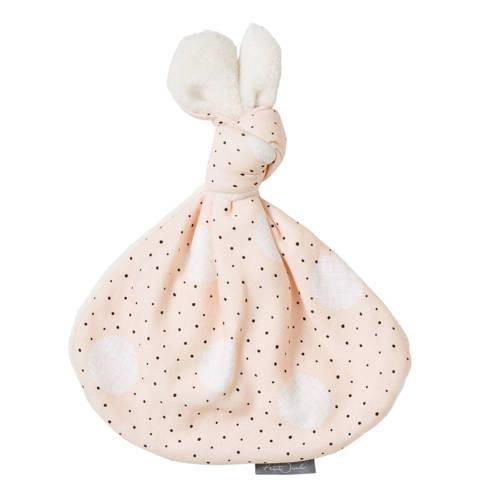 Petit Juul knoopkonijn roze/creme/zwart knuffel 43