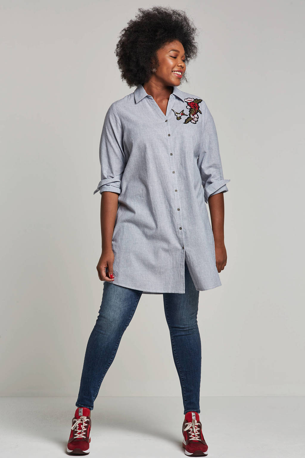 Adia blouse met patches, Blauw/wit