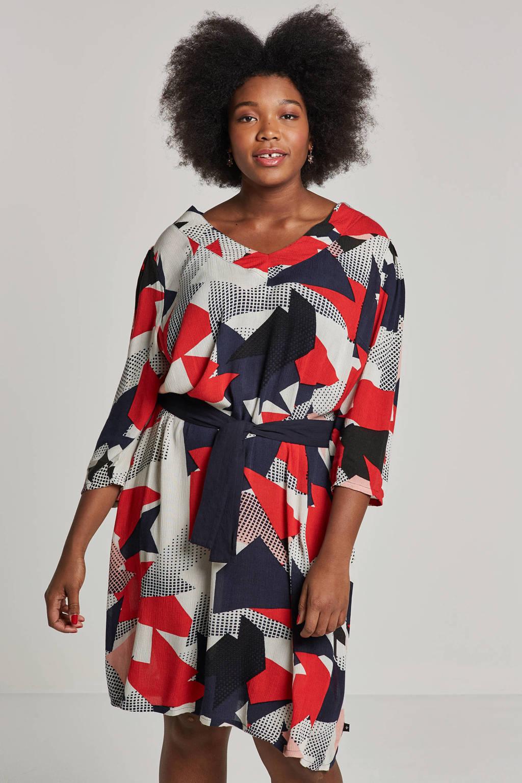 Adia jurk met bindceintuur, Rood/donkerblauw/wit