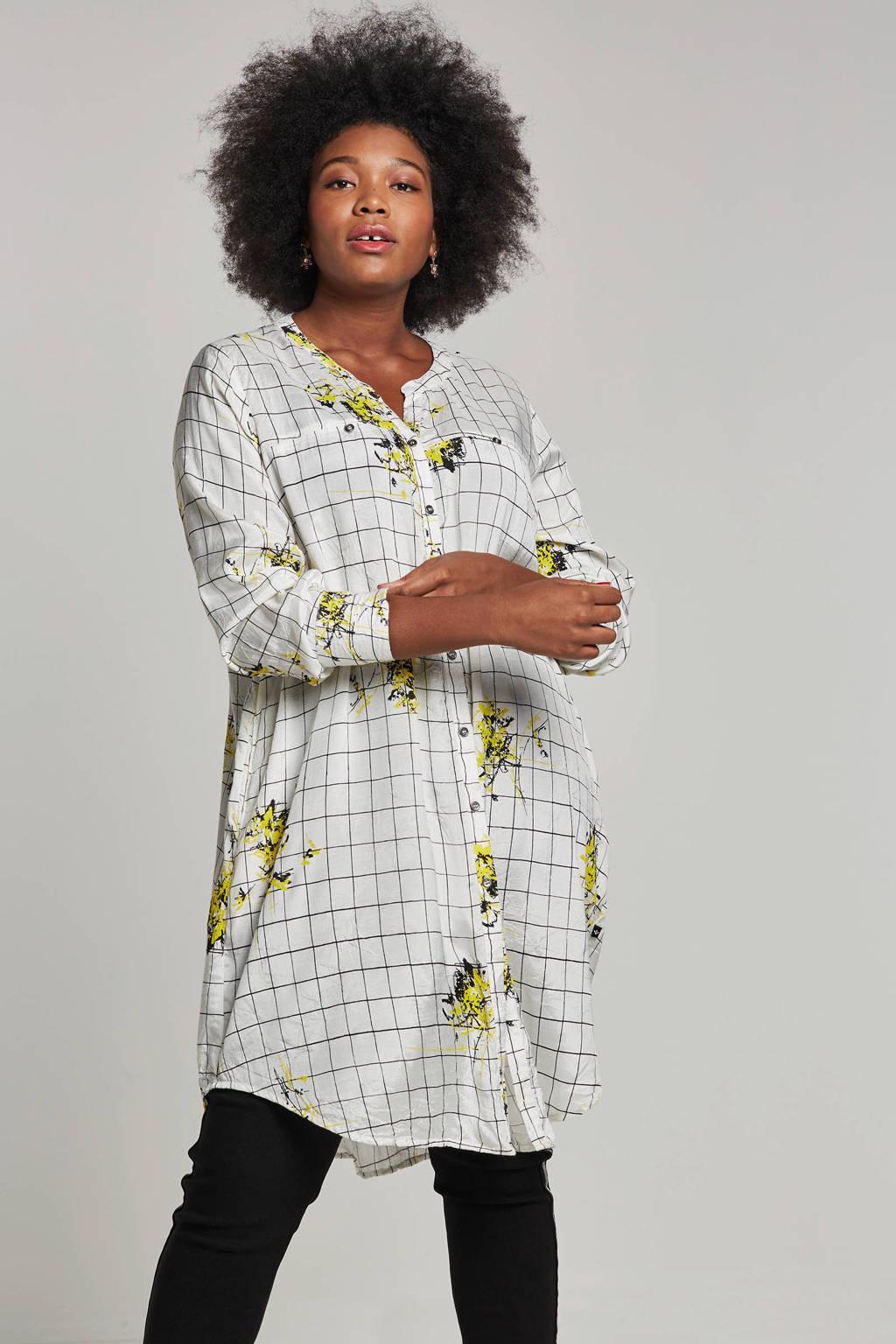Adia blouse met all-over print, Wit/groen