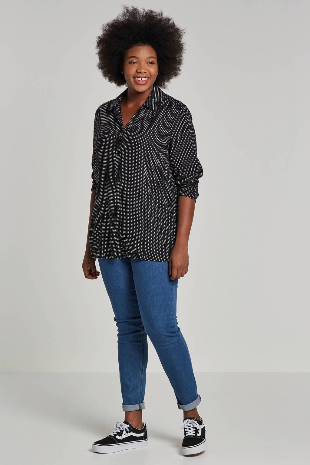 Adia blouse met stipdessin, Zwart/wit