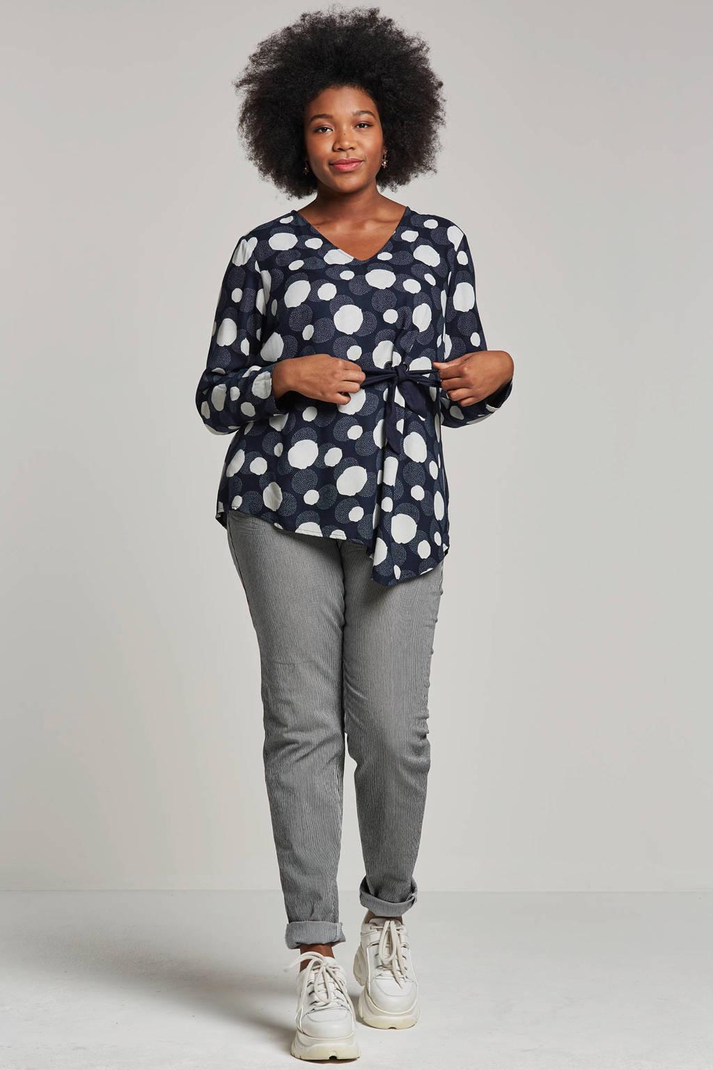 Adia jeans met strepen, Zwart/wit
