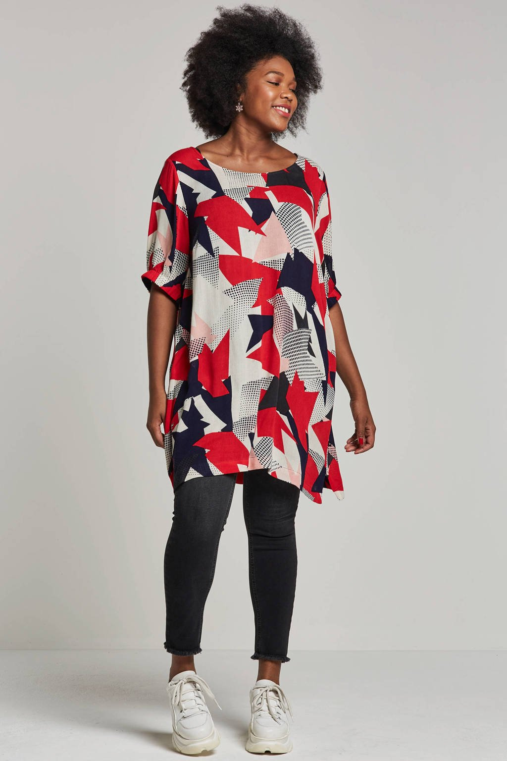 Adia tuniek met all-over print, Rood/donkerblauw/wit