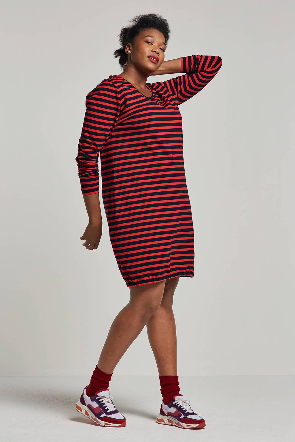 Adia jurk met strepen, Rood/donkerblauw