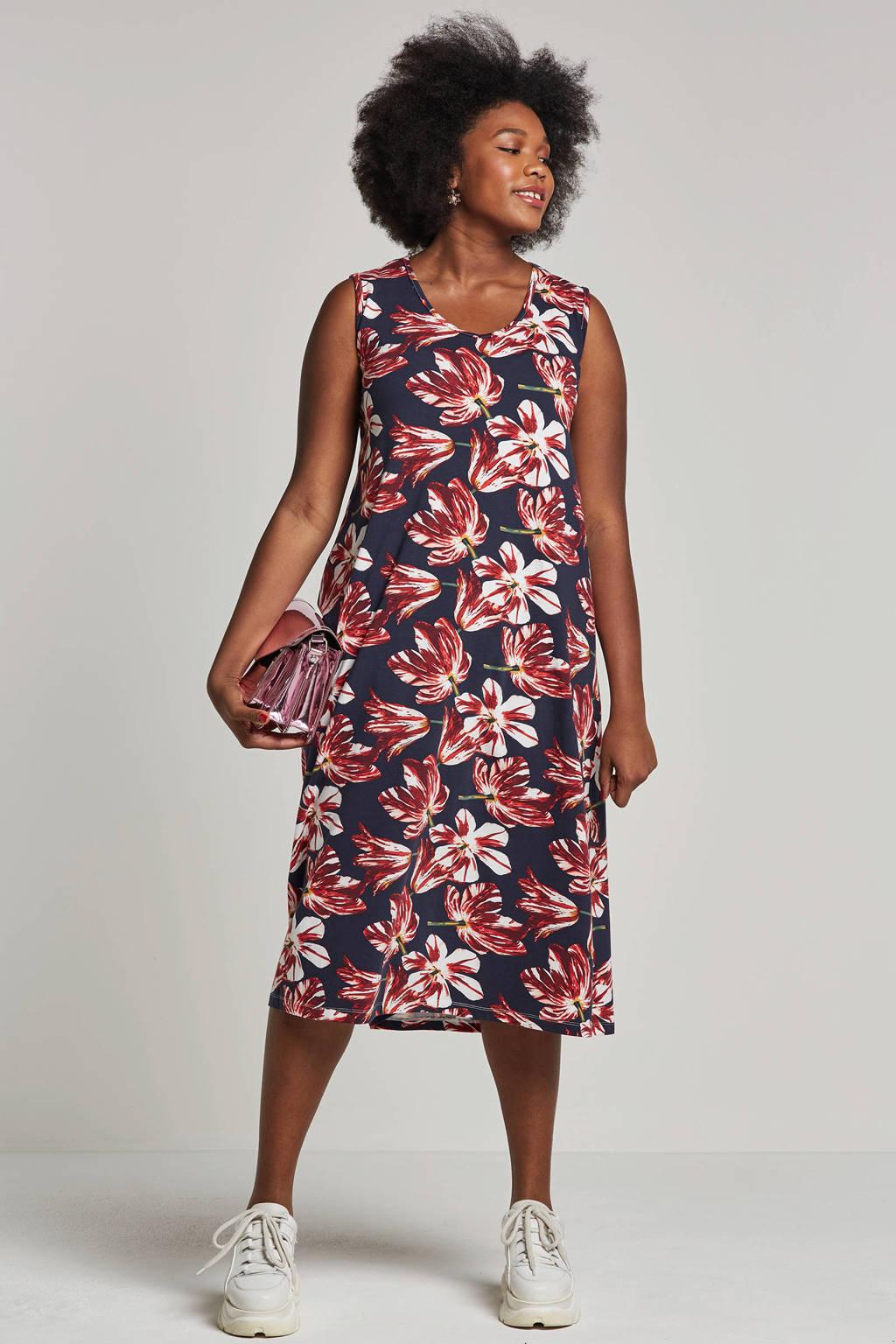 Adia jurk met all-over print, Donkerblauw/rood
