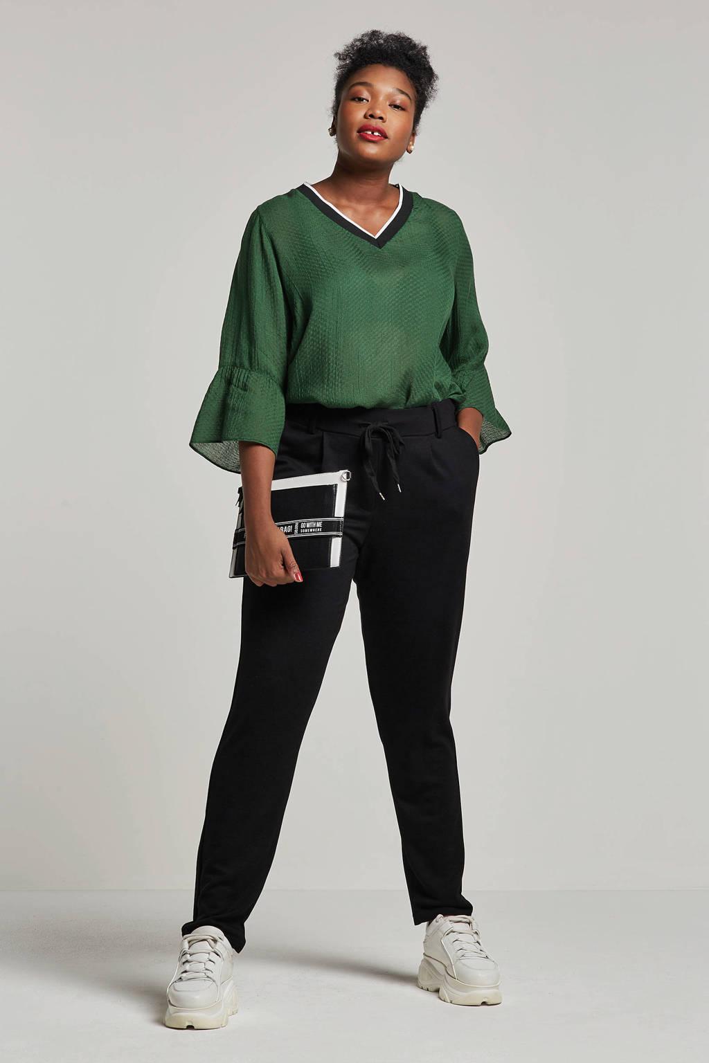 Adia top met v-hals, Groen/wit/zwart