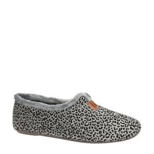 pantoffels met panterprint grijs