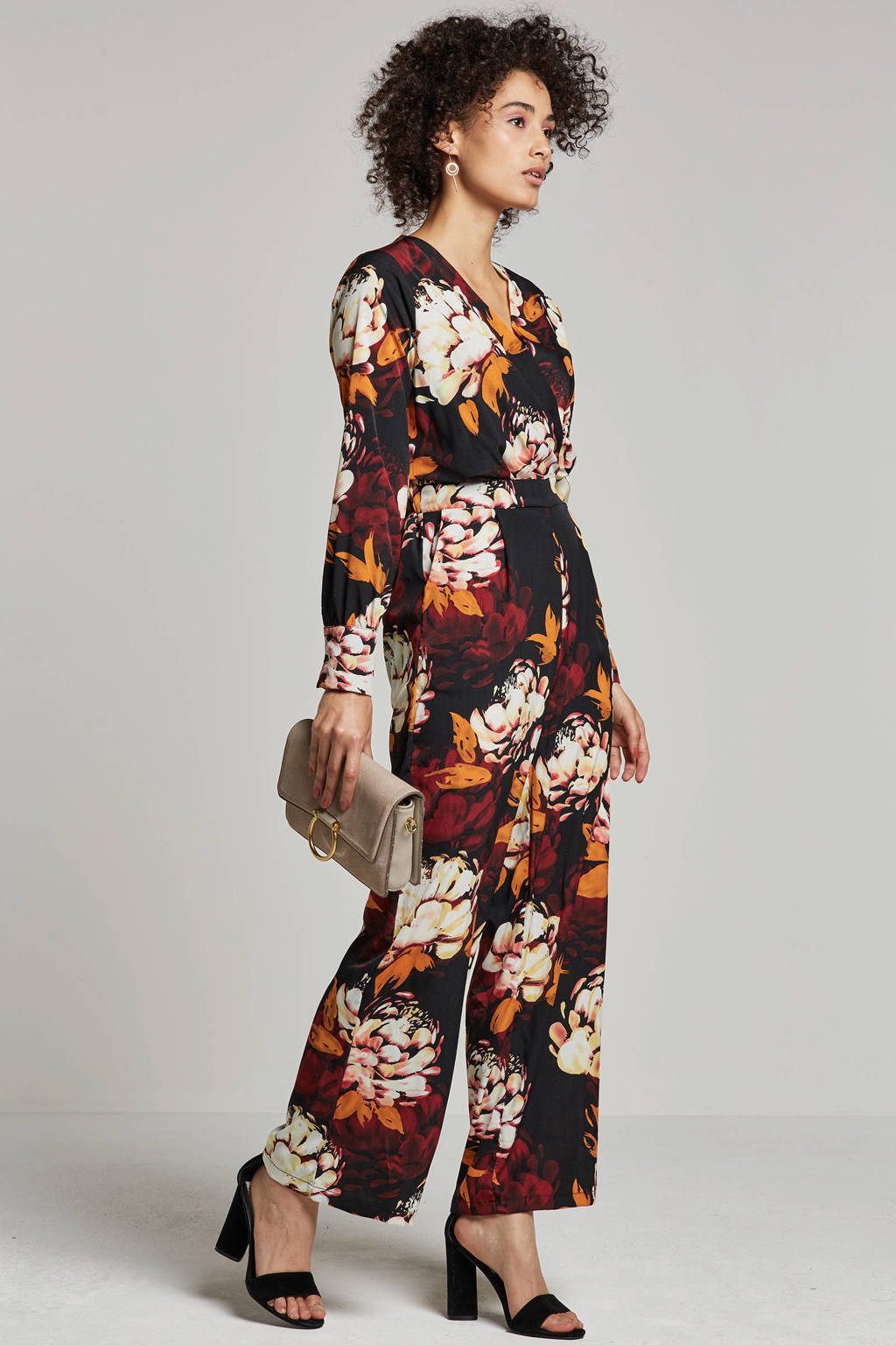 Y.A.S jumspuit met bloemenprint, Zwart/rood/oranje