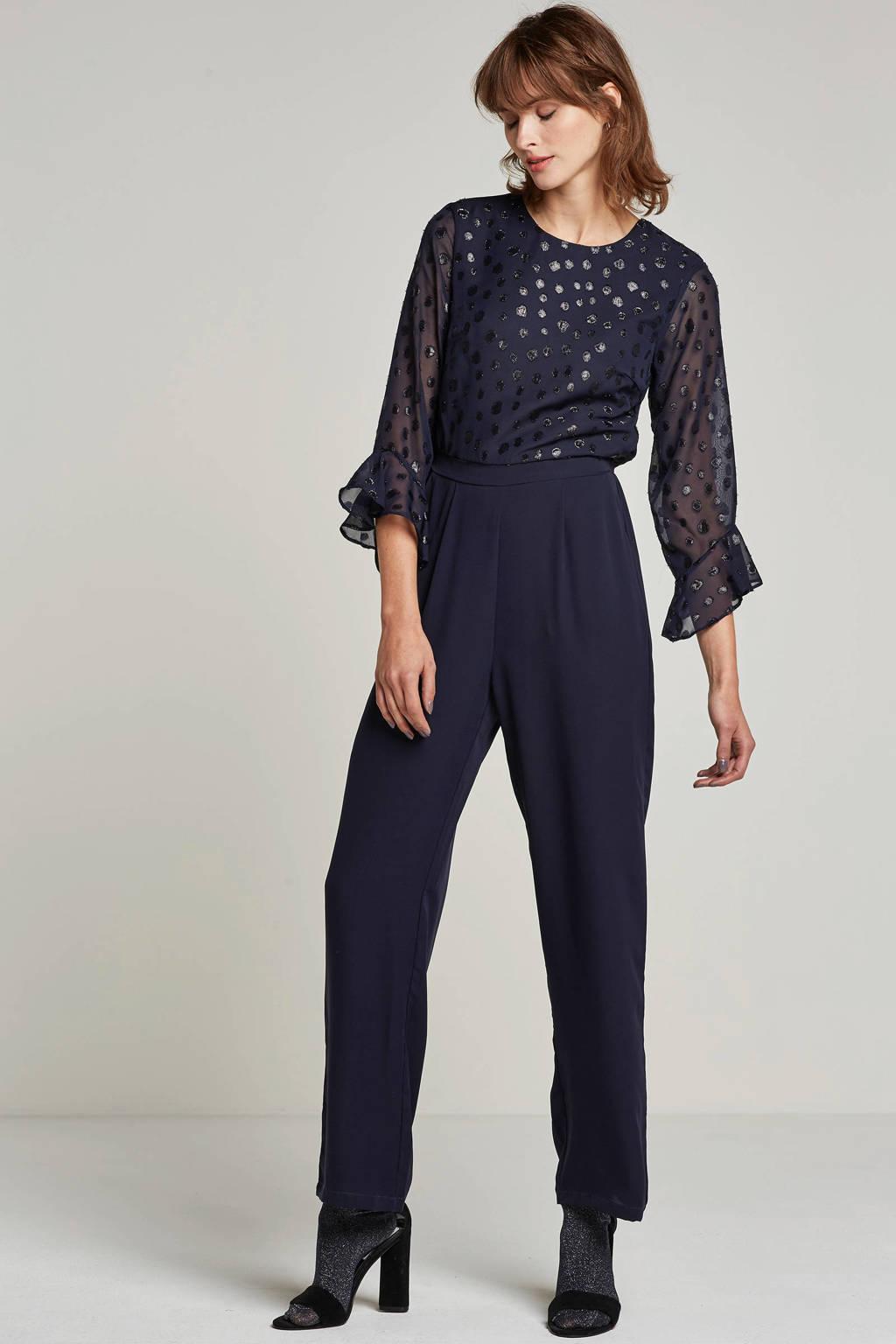 Y.A.S jumpsuit met glitterdetails, Donkerblauw