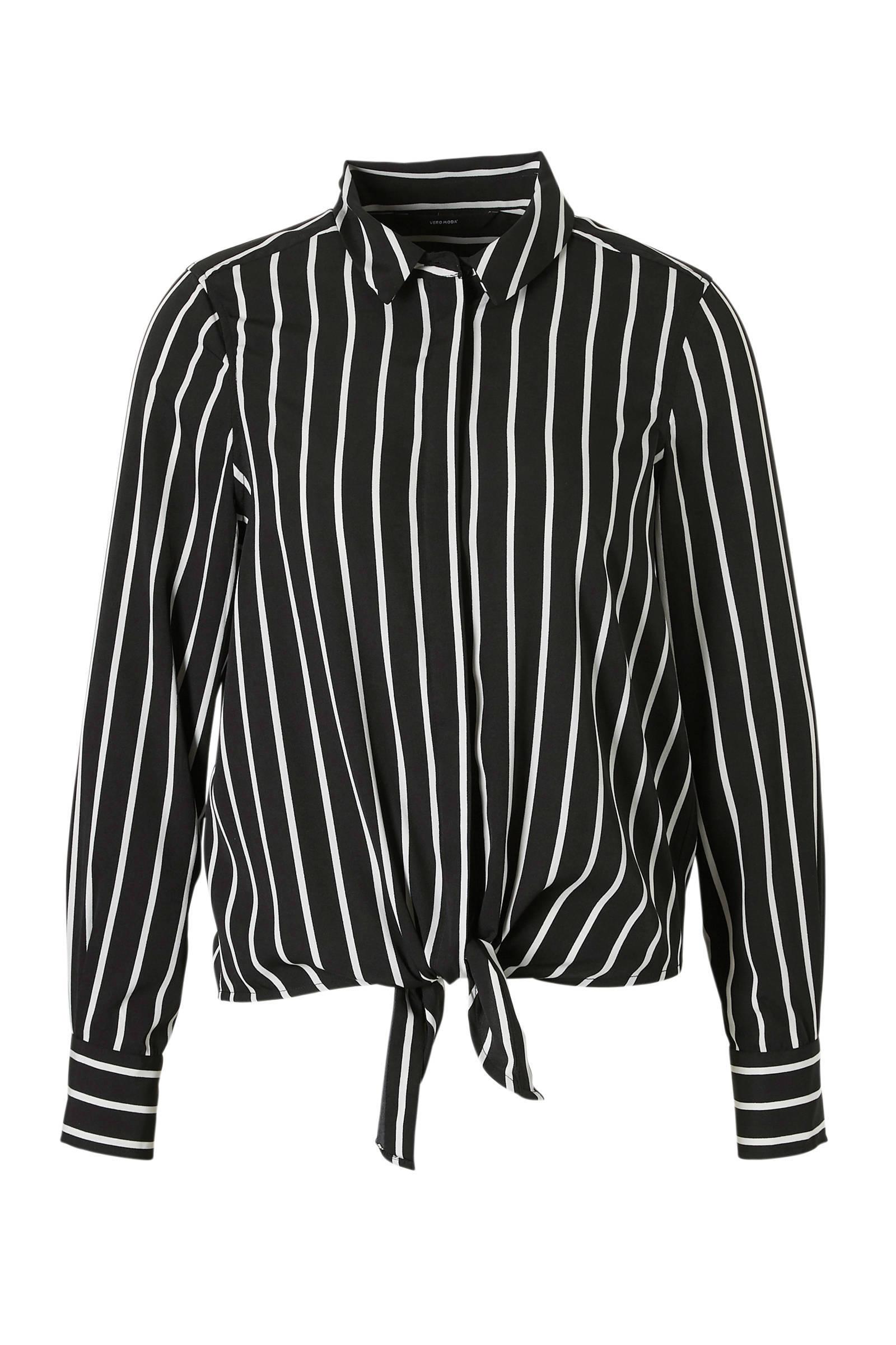 blouse zwart wit gestreept