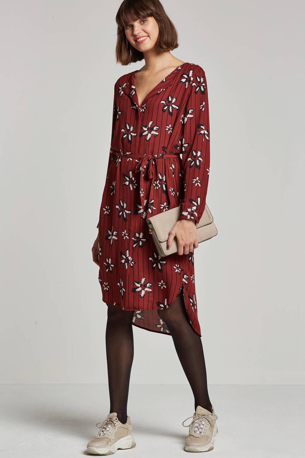 SELECTED FEMME gebloemde blousejurk, bruin/zwart/wit