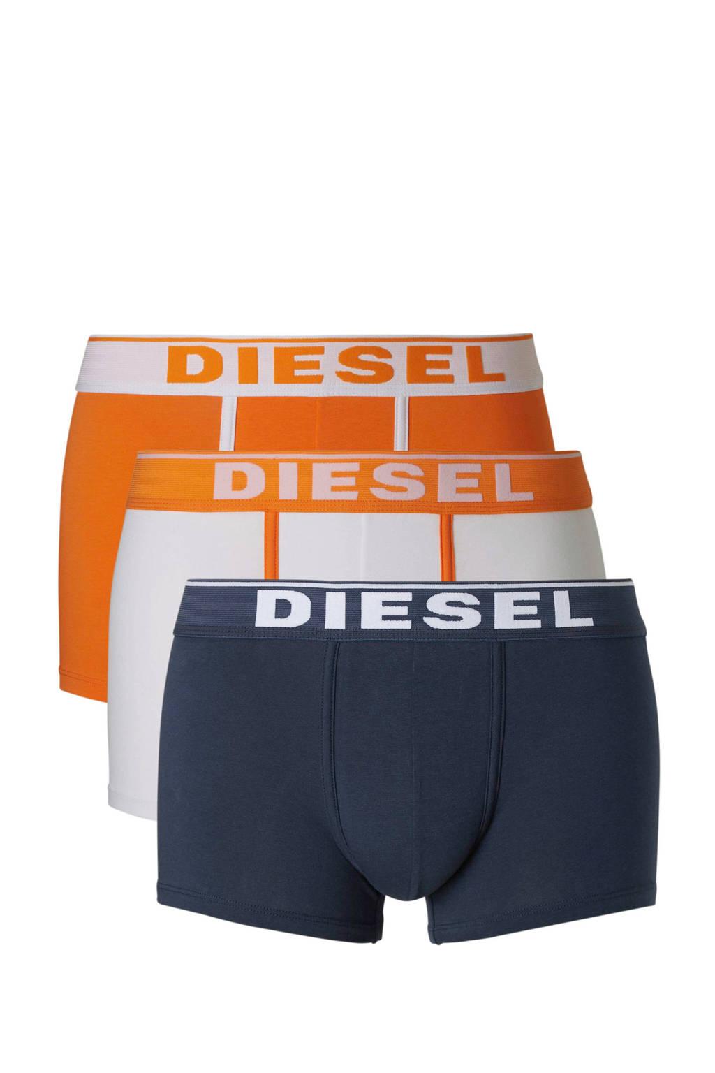 Diesel boxershort (set van 3), Marine/wit/oranje