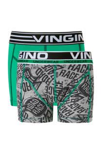 Vingino Junior  boxershort - set van 2 Race grijs/groen (jongens)