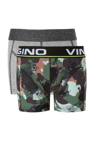 Junior  boxershort - set van 2 Hide groen/grijs